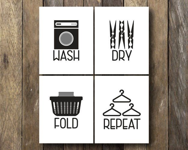 Wash Dry Fold Repeat Laundry Room Printables By