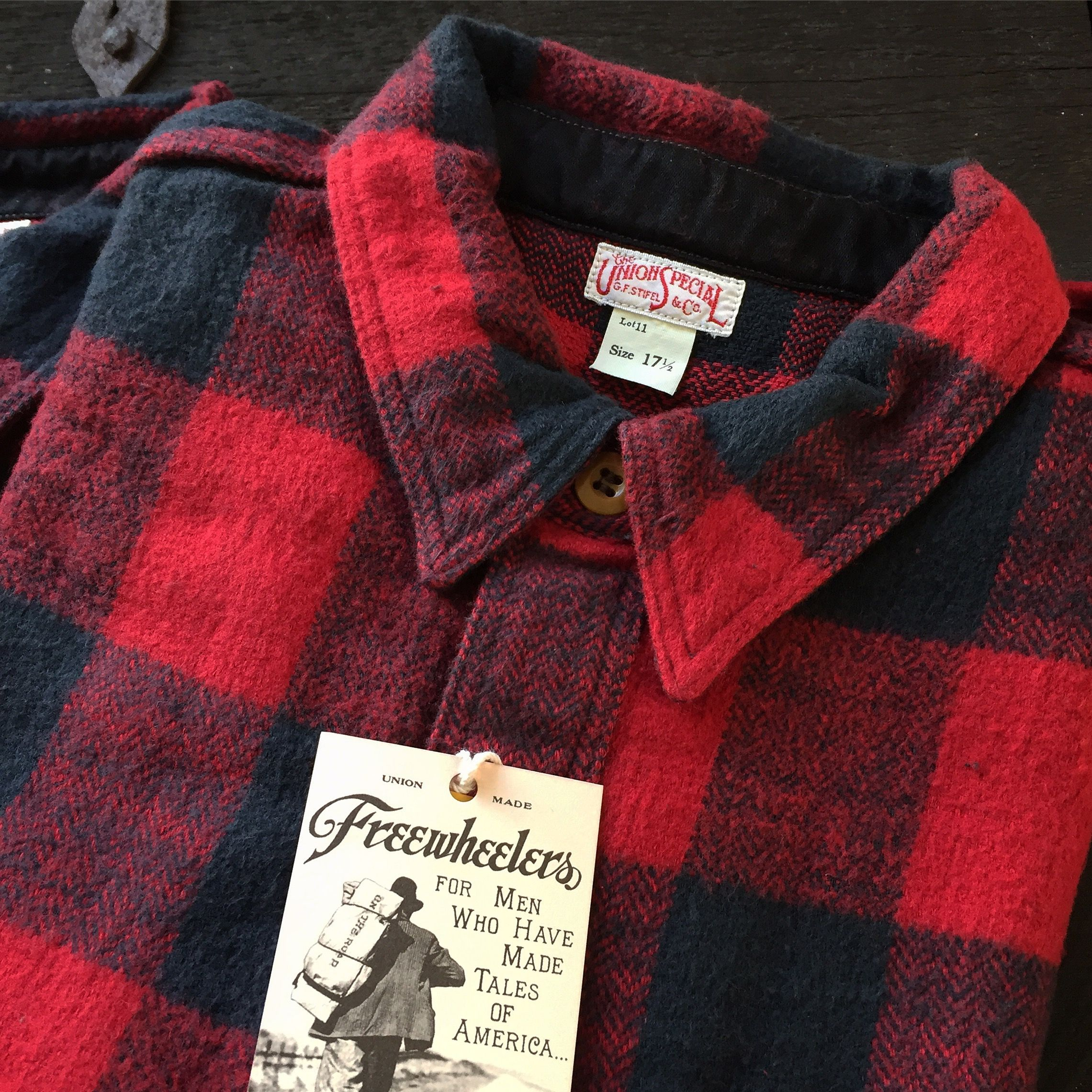 Freewheelers Stromberg Shirt. (made in japan, buffalo check, flannel, desolation row, union special)