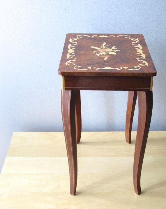 music box rosewood inlay Italian side table jewelry box  Italian