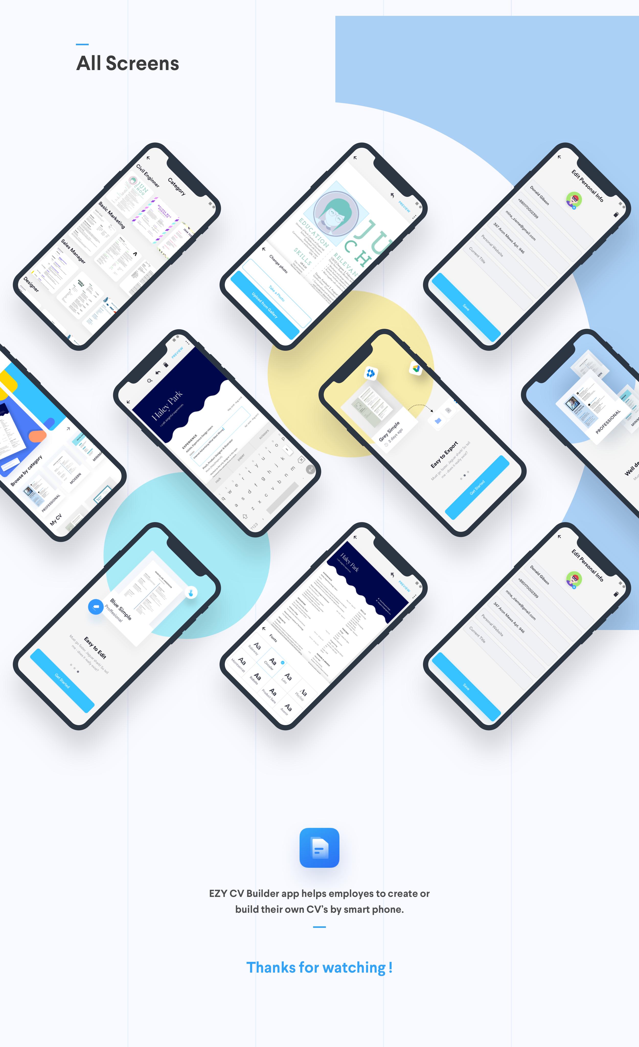 Ezy CV/Resume Builder Mobile App on Behance Mobile app