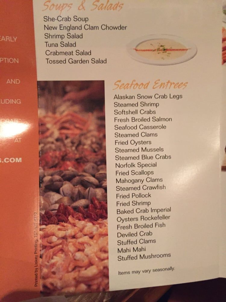 Photo Of Captain George S Seafood Restaurant Myrtle Beach Sc United States Menu Fried Oysters Seafood Restaurant Seafood Entrees