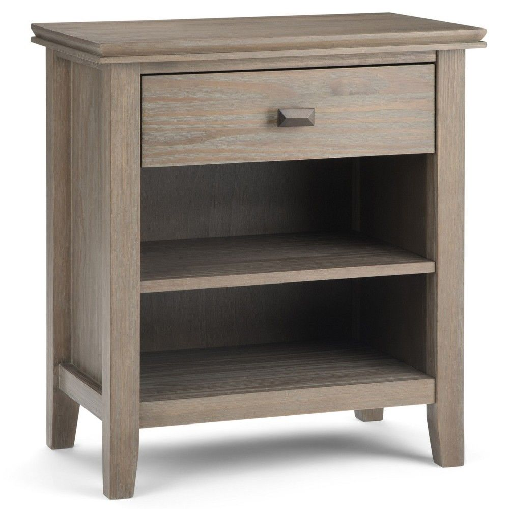 Stratford Solid Wood Nightstand Distressed Gray Wyndenhall