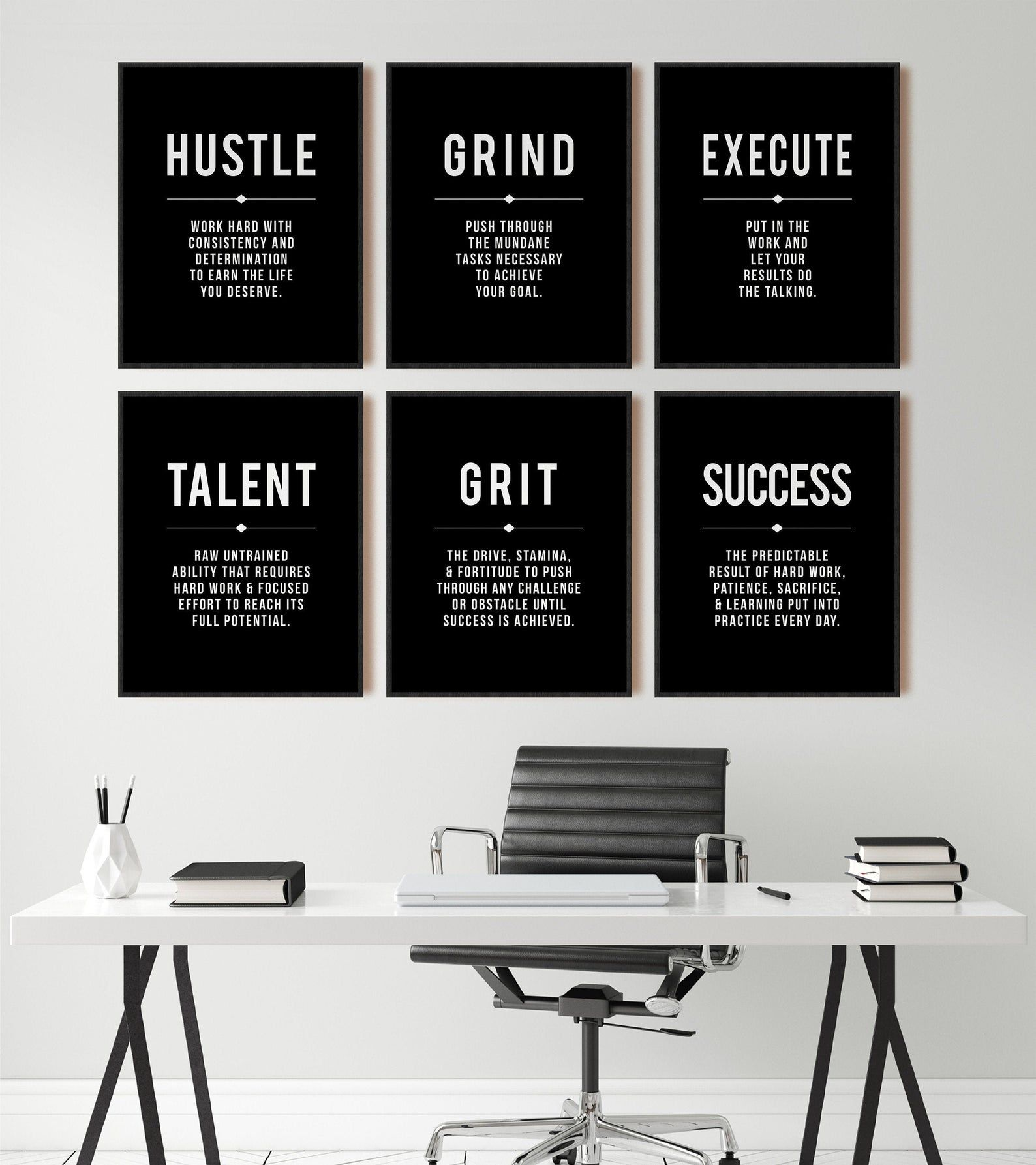 Minimalist Office Wall Art Hustle Success Talent Quote Motivational Wall Art Large Black Poster Inspirational Set Of 6 Prints Modern Office Decor Work Office Decor Minimalist Office