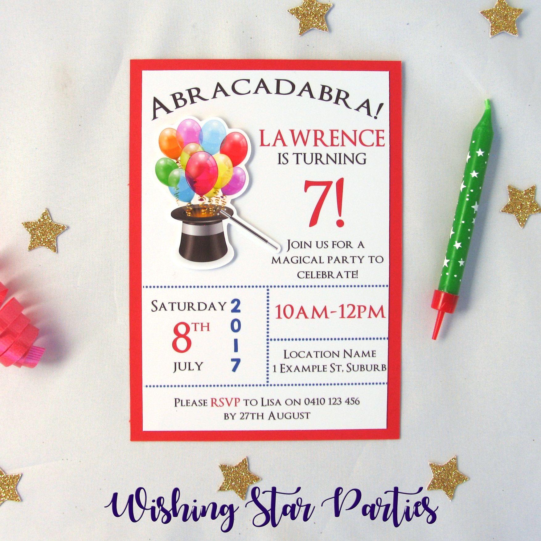 3D Magic Themed Birthday Party Invitations | Themed birthday parties ...