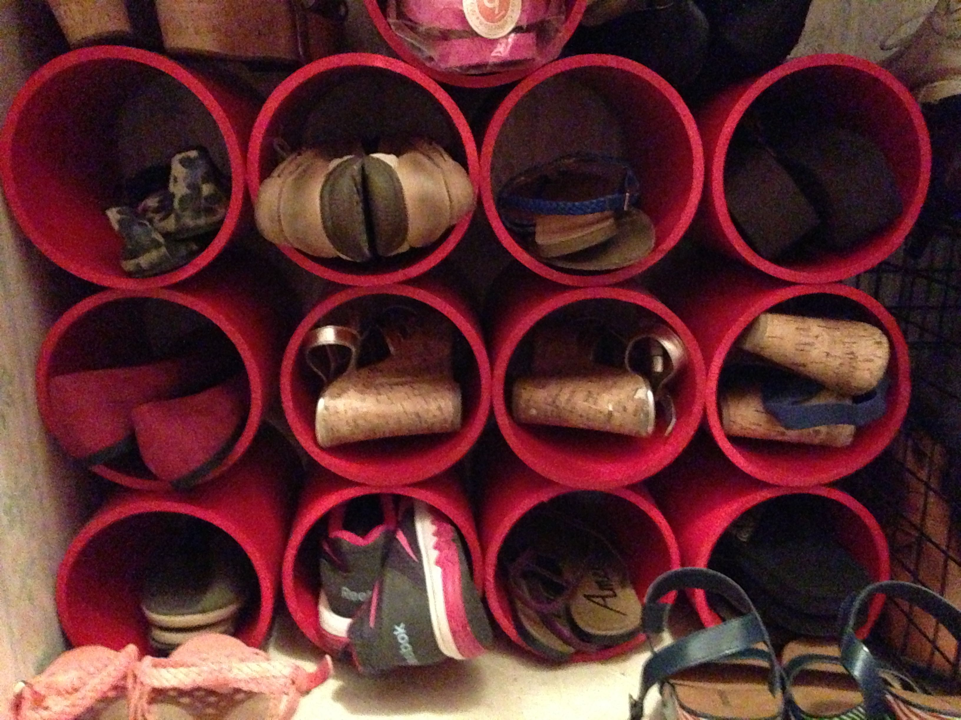 shoe rack organizer made from 6 inch by 10ft PVC pipe from Lowe s