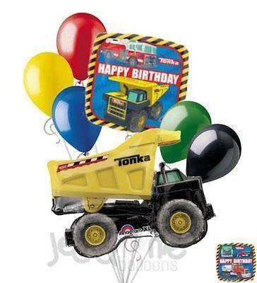7 pc Tonka Dump Truck Happy Birthday Balloon Bouquet Boy Decoration Construction