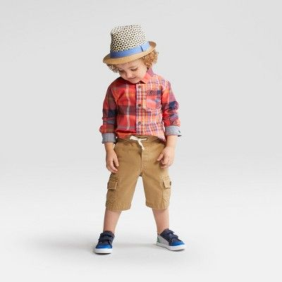 a7ad5ced Toddler Boys' Long Sleeve Button Down Shirt - Cat & Jack Red Multi Plaid -  12 Months