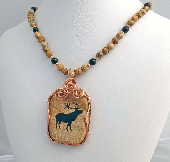 Natural Stone Pendants Picture jasper natural stone pendant necklace moose totem spirit picture jasper natural stone pendant necklace moose totem spirit stone audiocablefo