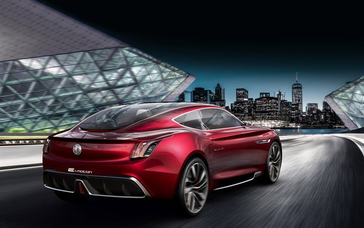 Download Wallpapers Mg E Motion 2017 Rear View Sports Car
