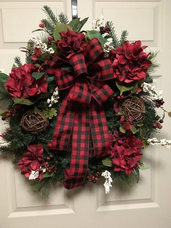 Photo of Items similar to Farmhouse Wreath, Christmas Decor, Holiday Wreaths, Buffalo Plaid, Red and Black Check, Rustic, Evergreen Wreath, Winter Door, Front Door Wreath on Etsy