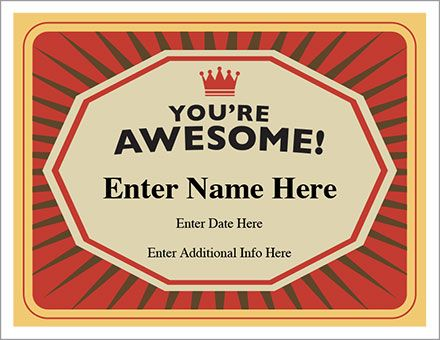 Youu0027re Awesome Certificate - and award template that makes it so - free award templates