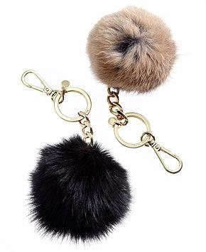 MICHAEL Michael Kors Keychain, Holiday Rabbit Fur Pom Pom - Handbags \u0026  Accessories - Macy\u0027s