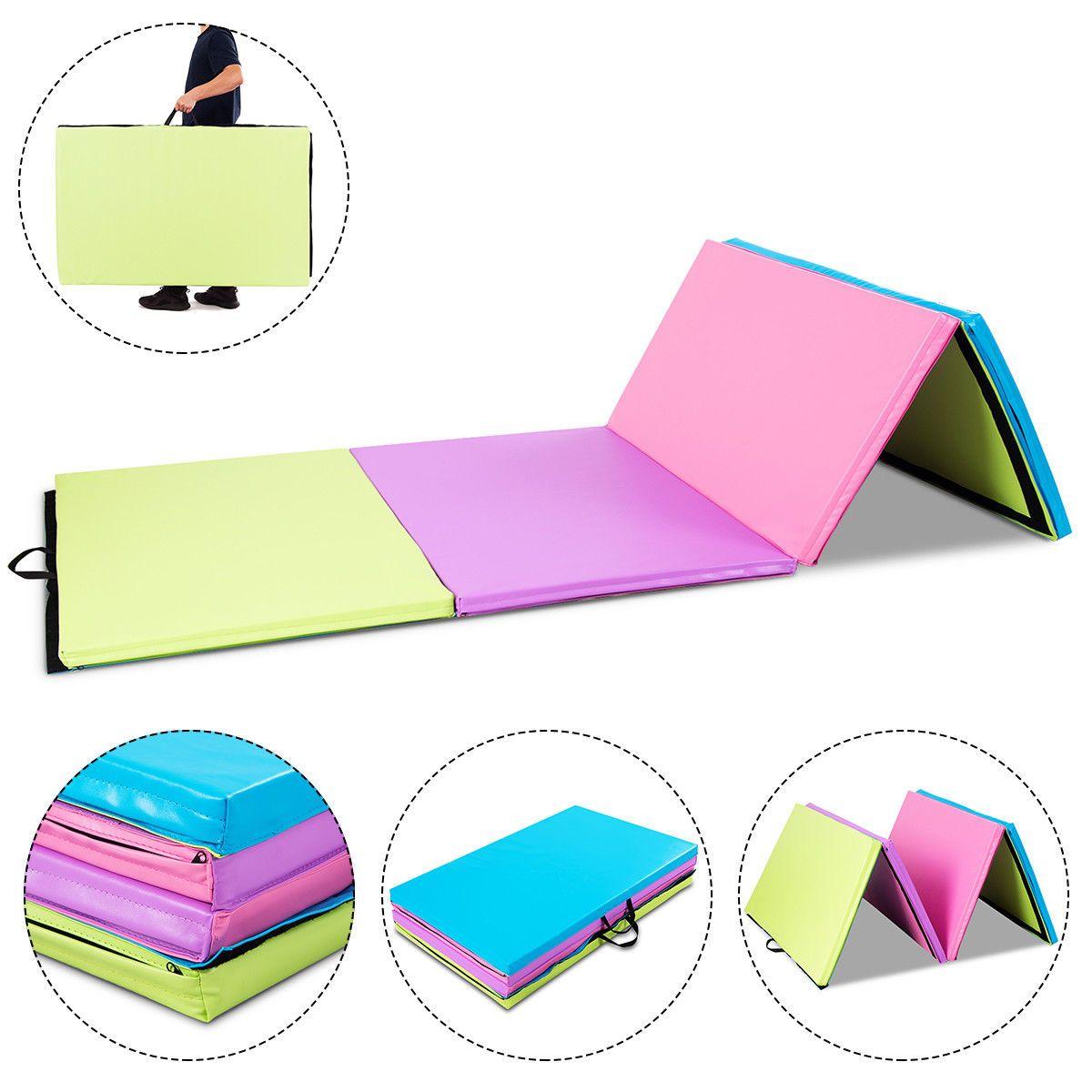 "Costway 4'x10'x2"" Portable PU Gymnastics Mat Folding Gym"