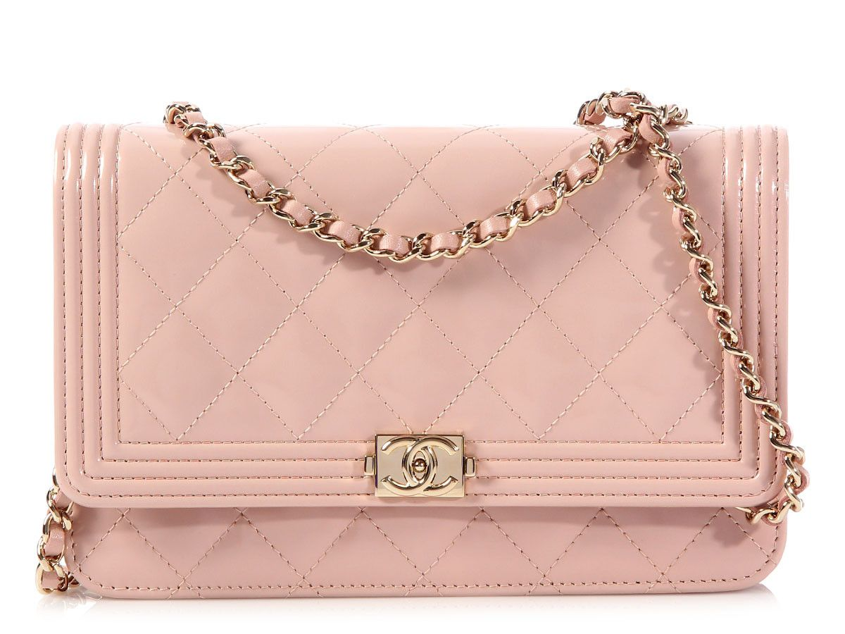 Chanel Light Pink Boy Wallet on a Chain WOC   Details    Bags ... f8c9fdbe06