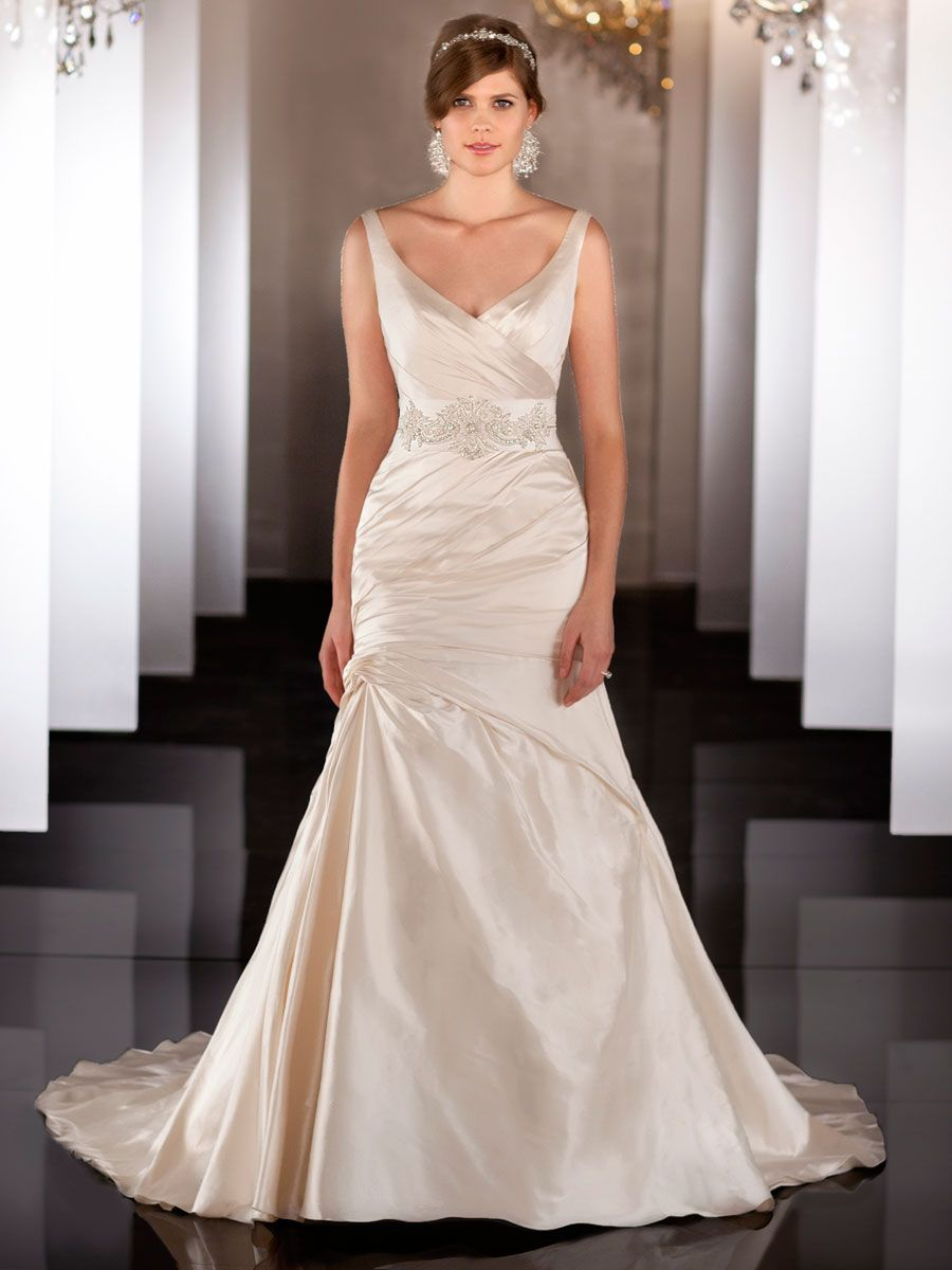 Straps V Neckline Ruched Wedding Dress With Dropped Waist And Plunging Backline