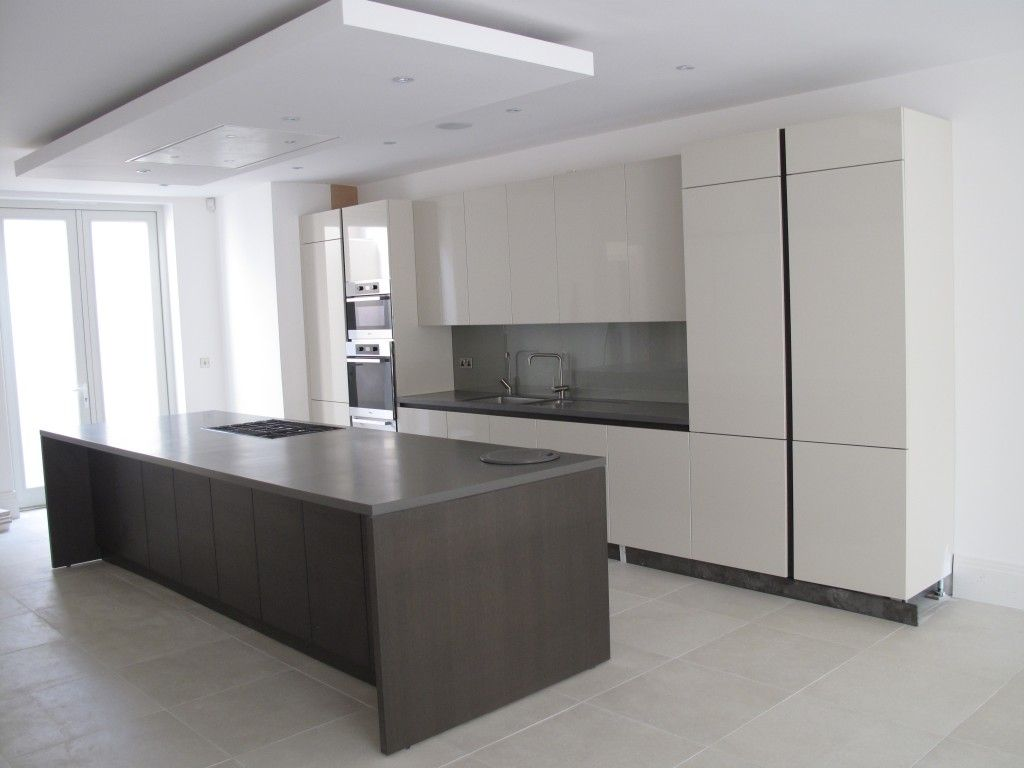 Ceiling Kitchen Suspended Ceiling With Lights And Flat Extractor Hood Over Kitchen