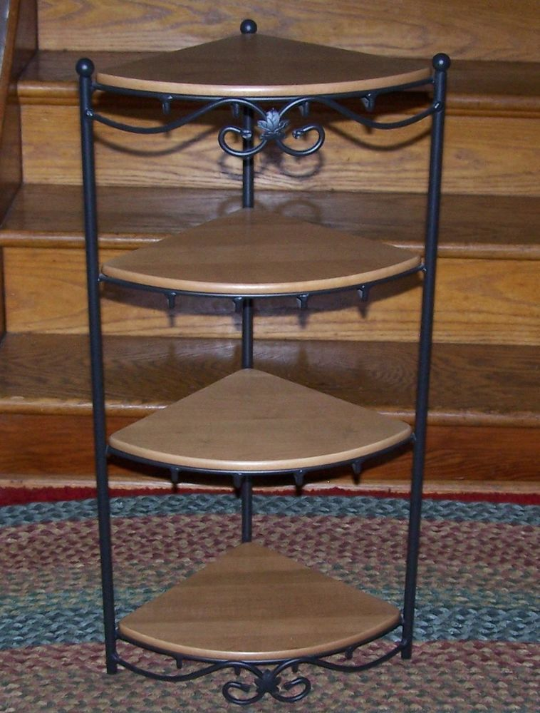Longaberger Wrought Iron Corner Stand 4 Solid Maple Shelves Euc This Would Be Great For Displaying Your S