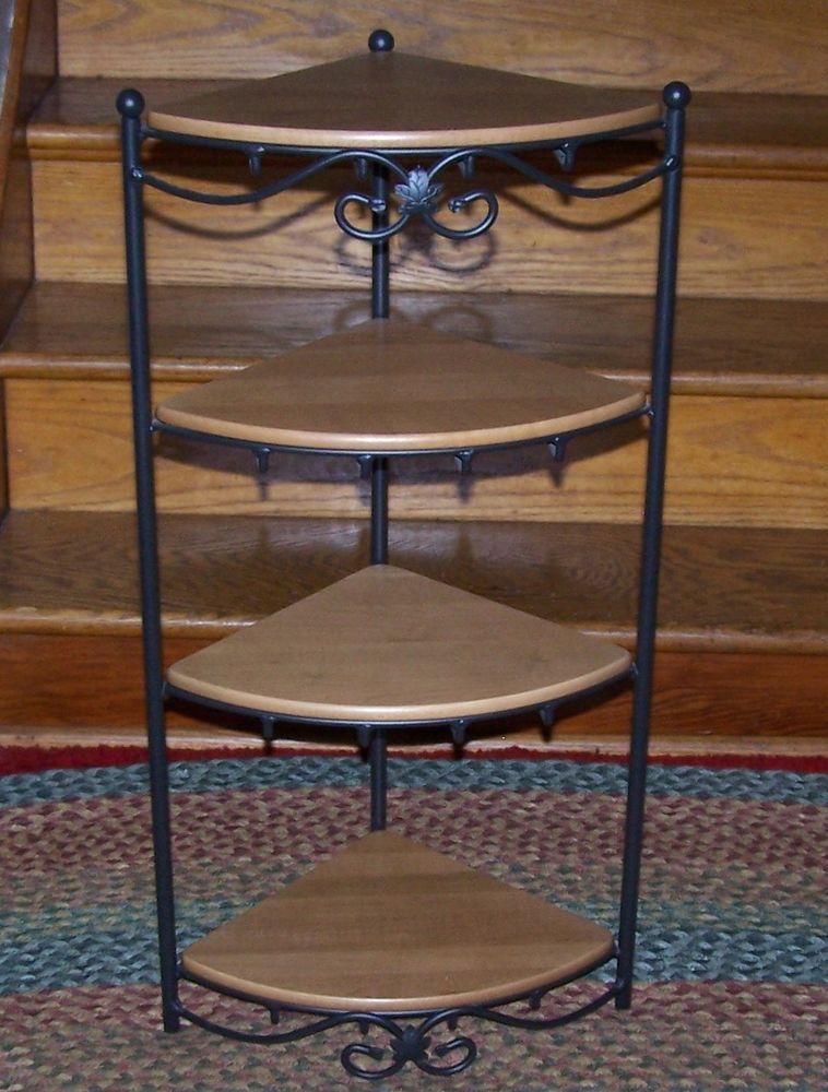 longaberger wrought iron corner stand 4 solid maple. Black Bedroom Furniture Sets. Home Design Ideas