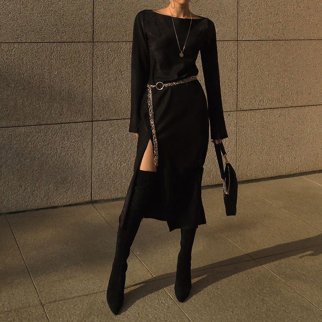 M O D U S On Instagram Deepslit Long Dress Layering Chain Belt Modus Fashion Clothes Women Fashion Black Dress Layering [ 1080 x 1080 Pixel ]