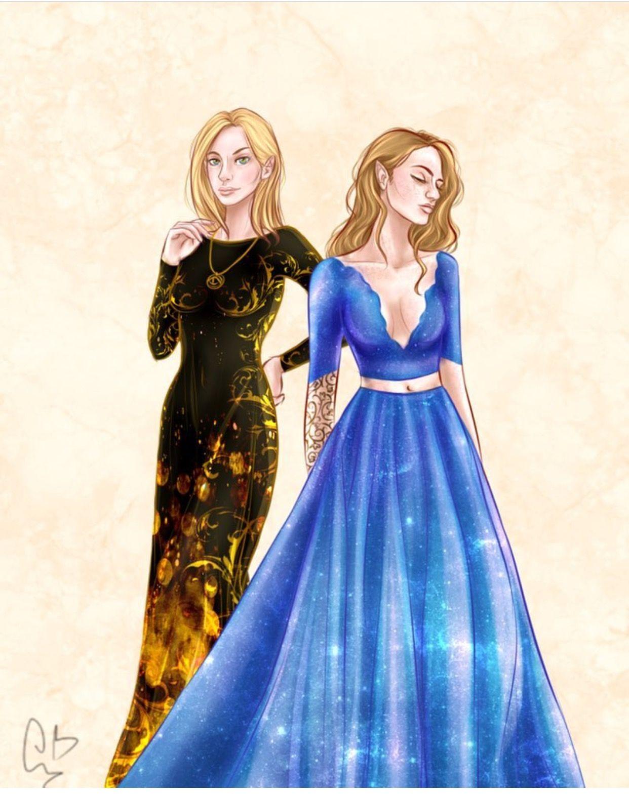 Aelins dragon dress and Feyres Starfall dress