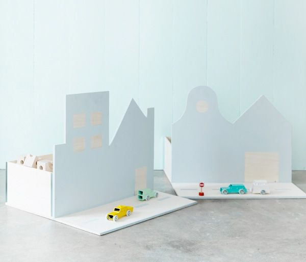 Toy boxes in different shapes - can create a whole city as the toy collection grows