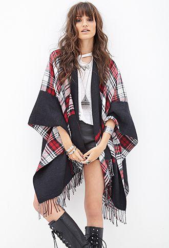 Plaid Knit Poncho | FOREVER21 - 1000101577