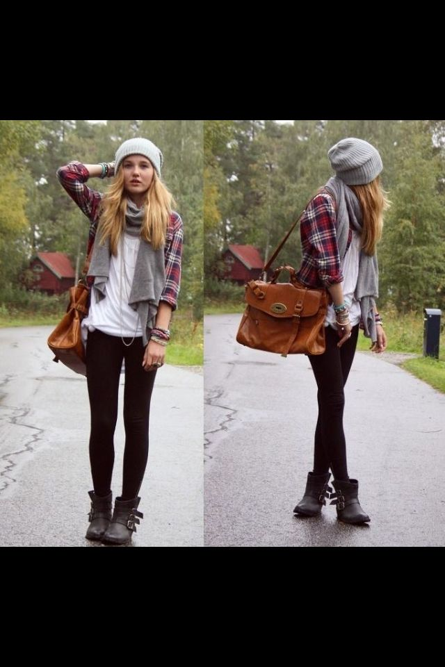 Casual plaid and love the bag