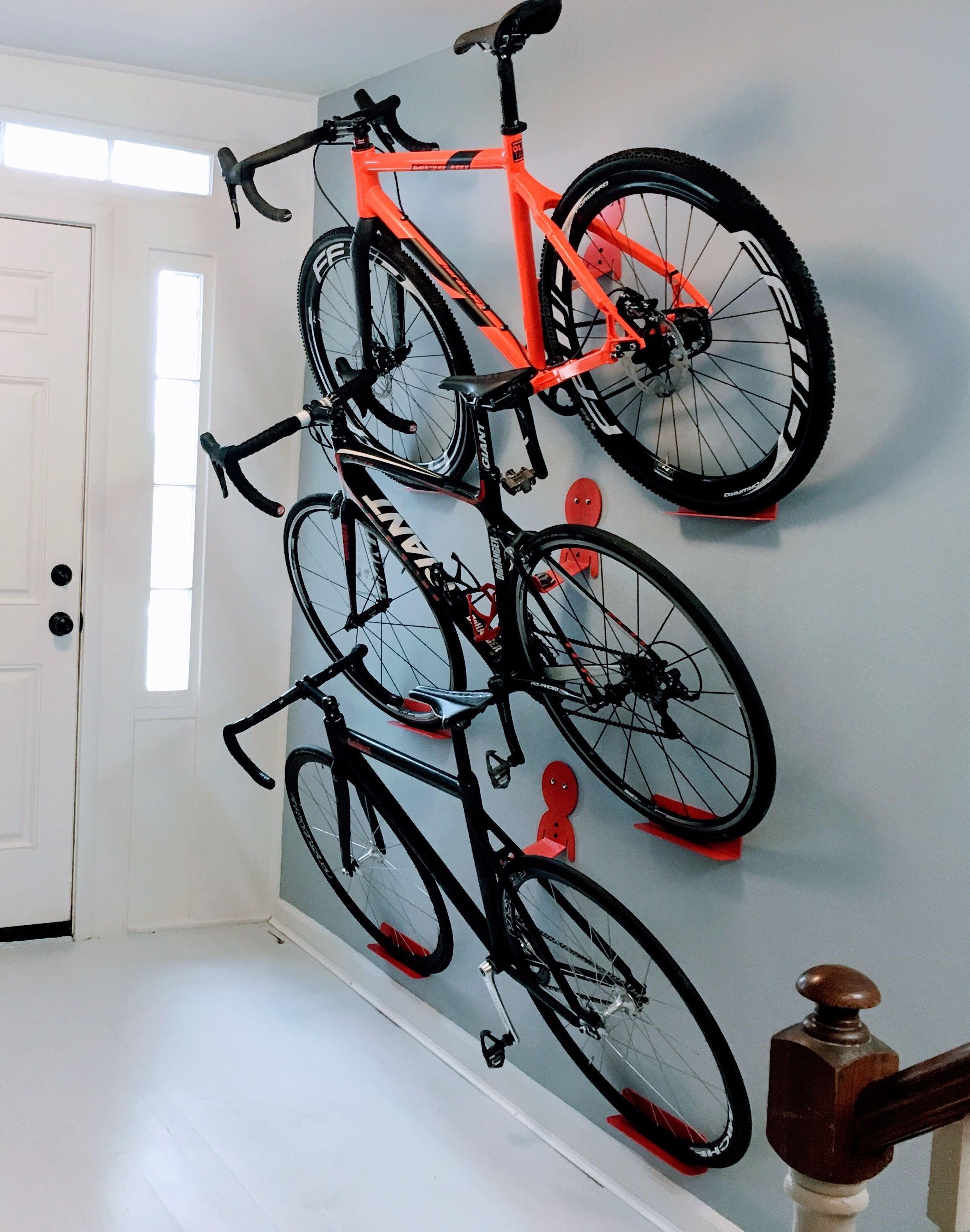 Multiple bikes hanging rack system. DaHANGER Dan pedal