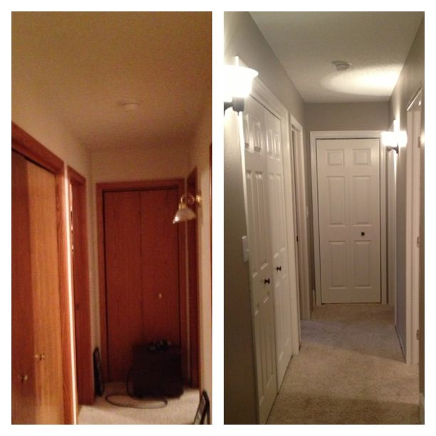 Painting oak trim white and changing doors house - How to paint a wooden door ...