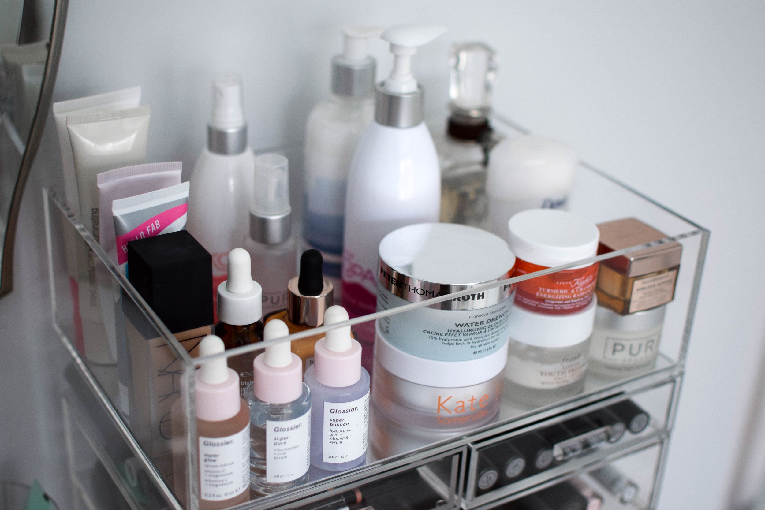 How I Store Organize My Makeup Products Pine Barren Beauty Acrylic Makeup Storage Beauty Organization Store Organization