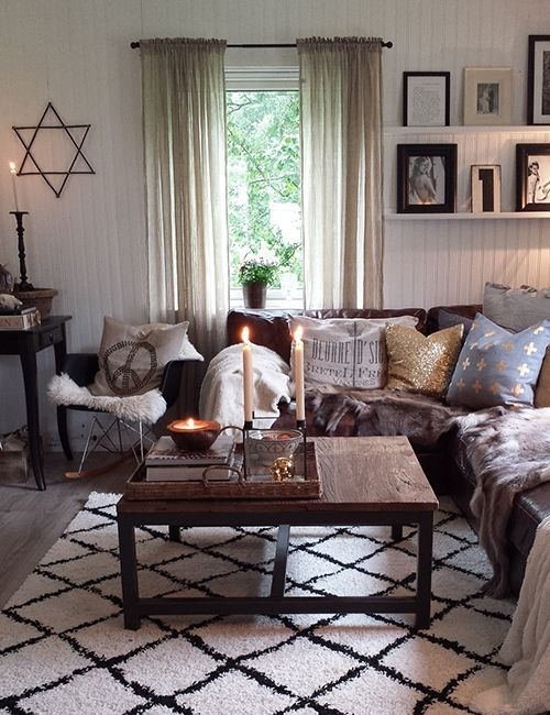 neutral living room with dark brown couches - Google ...