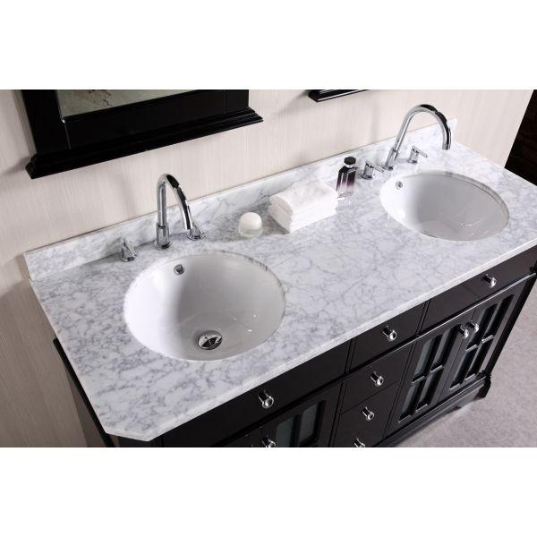 Double Bathroom Vanities Granite Tops white granite top vanity with white round deep porcelain sinks and