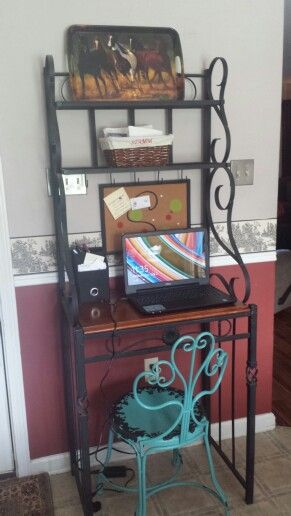 Small House Solution Bakers Rack Turned Cozy Computer Station In