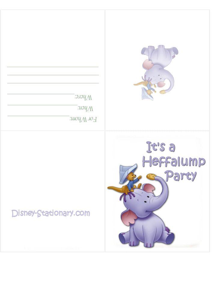 Lumpy Hefalump Birthday Invitation Jorelephants – Printable Disney Birthday Cards