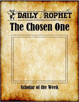 The Chosen One Harry Potter Scholar Or Student Of The Week Award Student Of The Week The Chosen One First Harry Potter