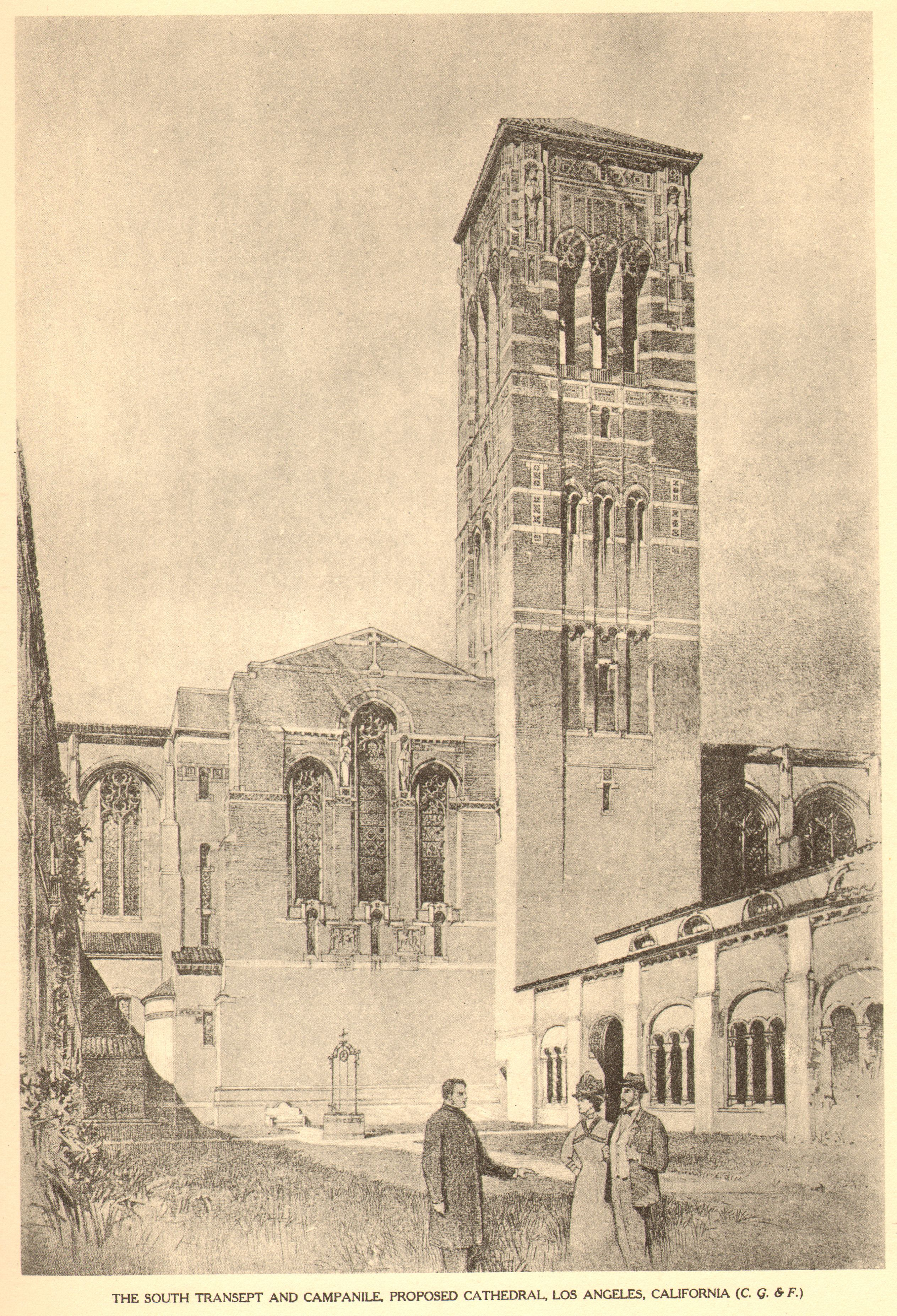 Bertram Grosvenor Goodhue, Architect (1869-1924) Pencil Rendering. South Transept and Campanille, Los Angeles.