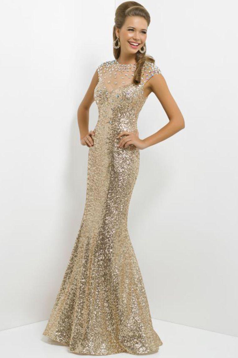 2014 Shimmery Prom Dress Mermaid Rhinestone Beaded Neckline Floor ...