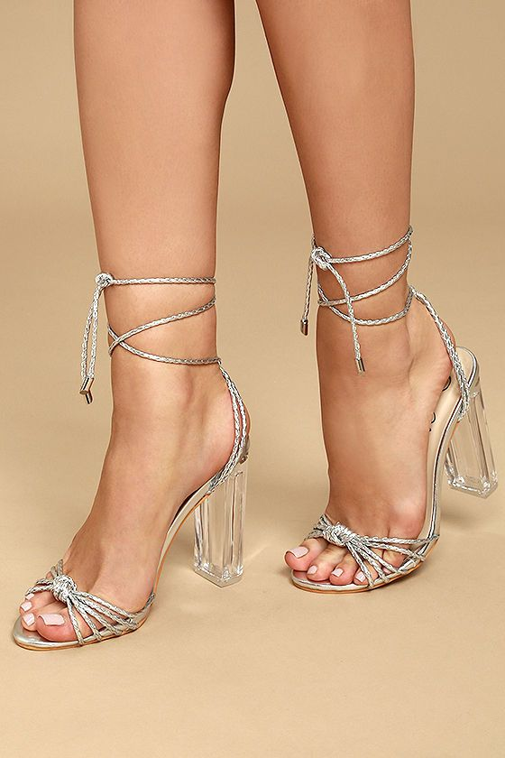 e715384a274 Slay all day in the Melisenda Silver Lucite Lace-Up Heels! Luxe