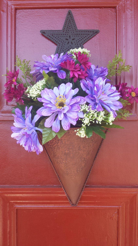 Purple Flowers in Rustic Holder by ReverenceByKarin on Etsy | easter ...