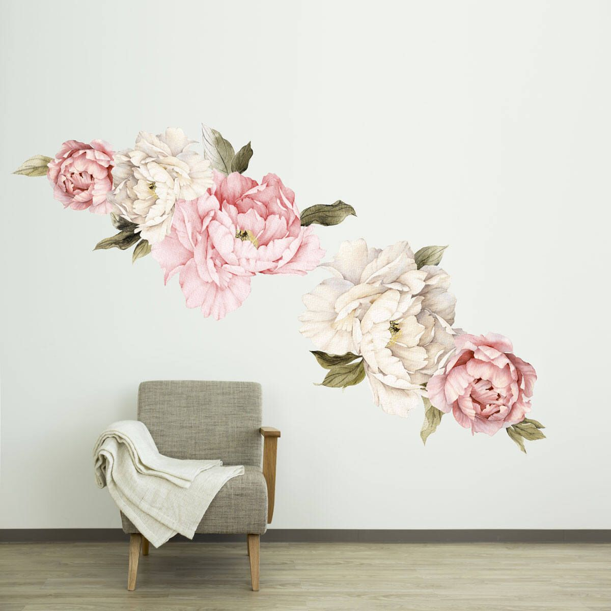 Floral Wallpaper Mural Watercolor Peony Large Self