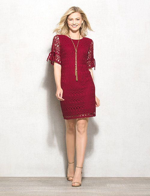 Petite Tie-Sleeve Lace Sheath Dress