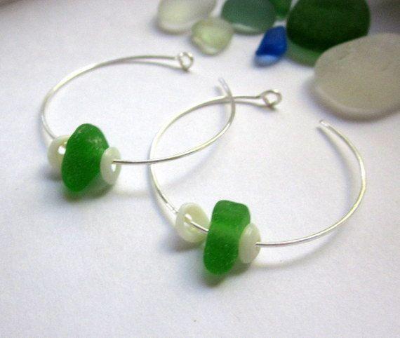 Seaside Seaglass Puka Earrings by GardenLeafDesign on Etsy, $20.00