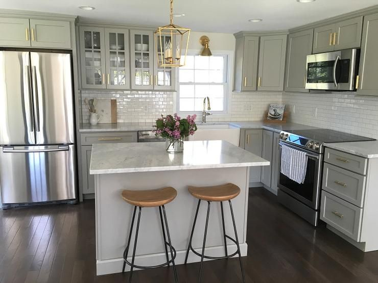 Gray Kitchen Features Gray Shaker Cabinets Adorned With
