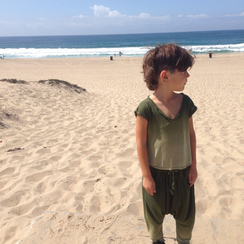 Beachboy  Drop Crotch Pants + V-Neck Slvlss Top in Ombree Moss Green
