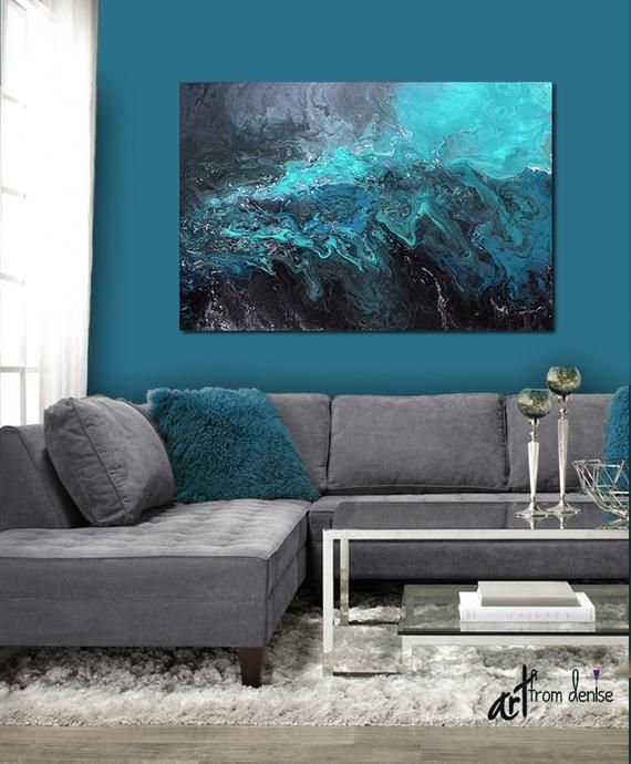 Large Abstract Blue Black Grey Canvas Wall Art Above Bed Etsy Blue Living Room Decor Teal Living Rooms Art Over Couch