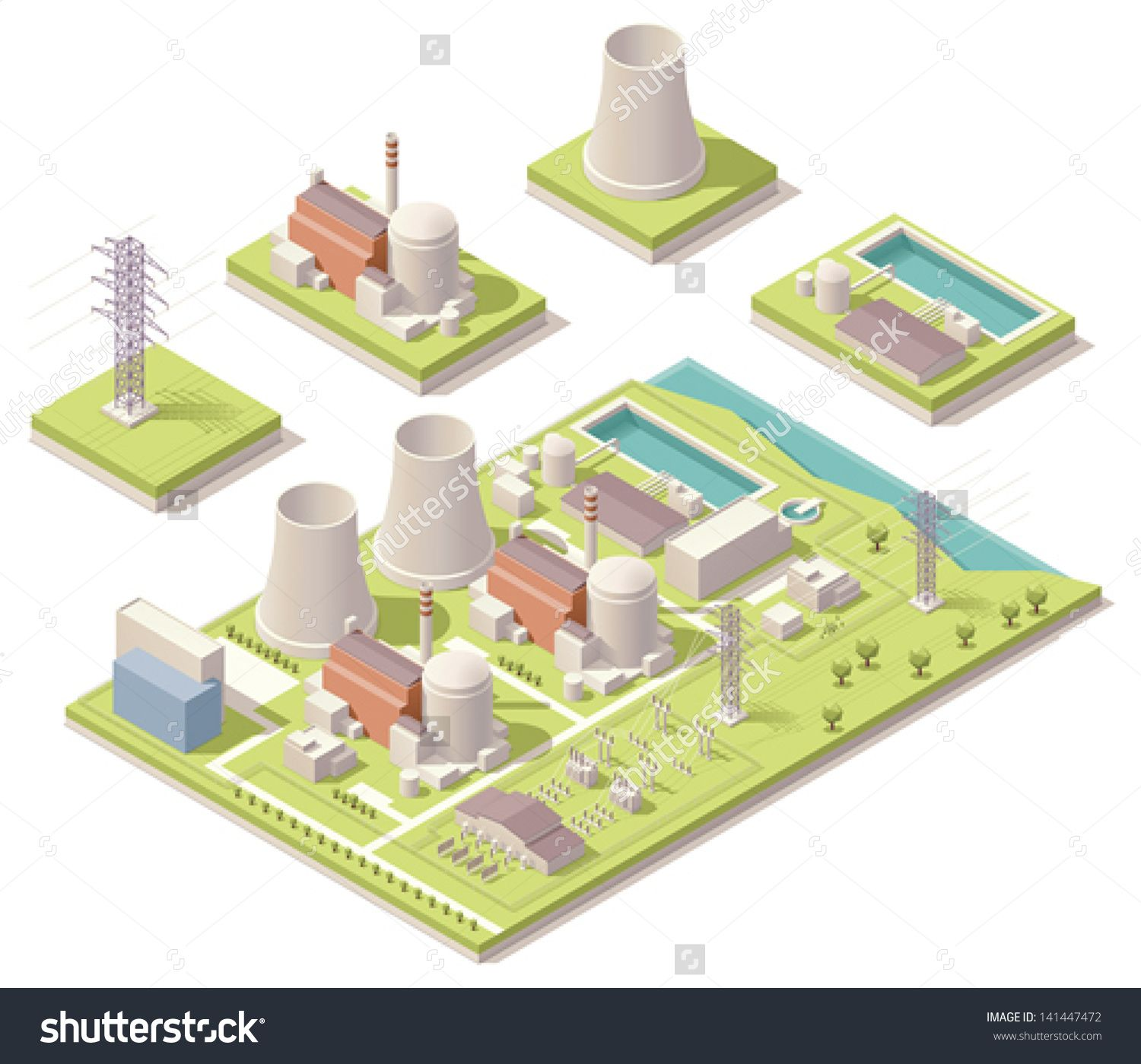 Vector Isometric Nuclear Power Station Pinterest Plant Schematic Minecraft
