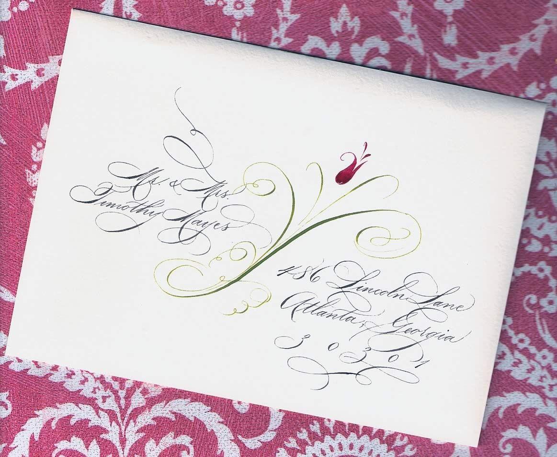 Spencerian Lettering with Flower Custom Wedding