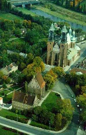 Bird's eye view of Poznan Cathedral complex on the island in the middle of the river Warta
