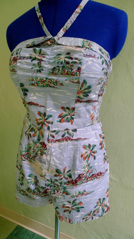 BLUE HAWAII--Adorable 1950s Cotton Hawaiian Playsuit Romper Sunsuit--S,M