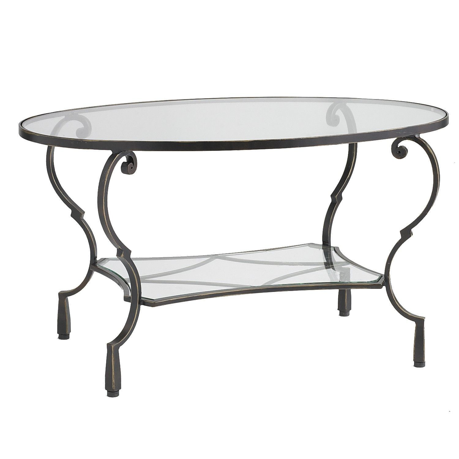 Chasca Glass Top Brown Oval Coffee Table